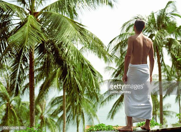 man with towel around waist, standing on wall facing palms, rear view - wearing a towel stock pictures, royalty-free photos & images