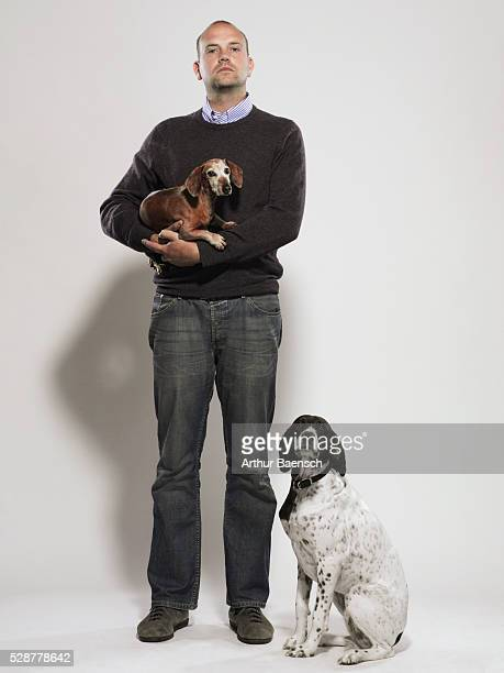 Man with two dogs