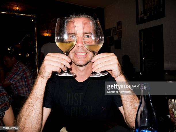 Man with two wine glasses