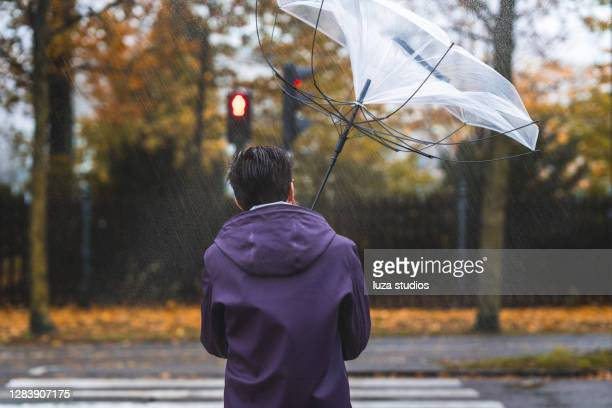 man with umbrella on a stormy day - leaving stock pictures, royalty-free photos & images