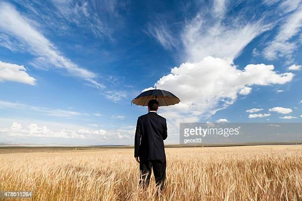 Man with umbrella on Wheat Field