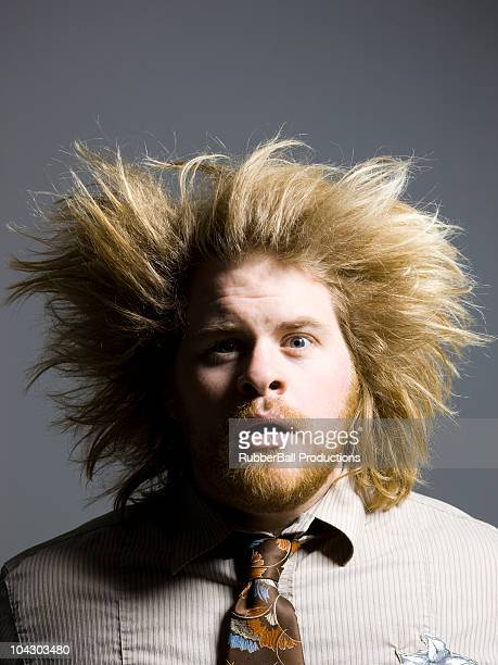 man with wild hair