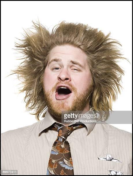 man with wild hair