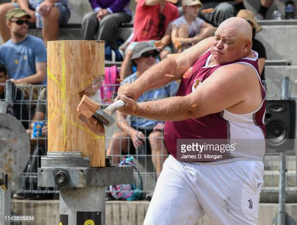 Man wood chopping during a competition during the Sydney Royal Easter Show at Sydney Showground on April 20, 2019 in Sydney, Australia. The annual...