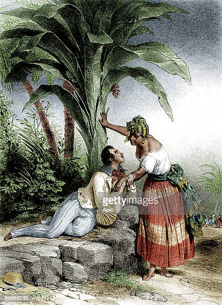 Man wooing a black woman at Reunion engraving c 1840 colorized document
