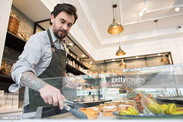 Man working at a bakery