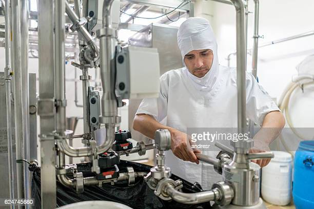 Man working at a food factory