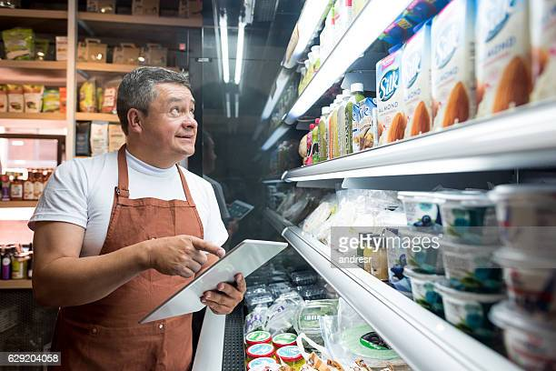 Man working at a grocery store