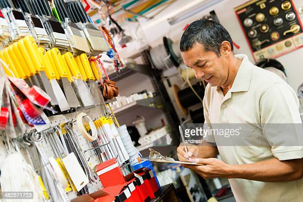 Man working at a hardware store