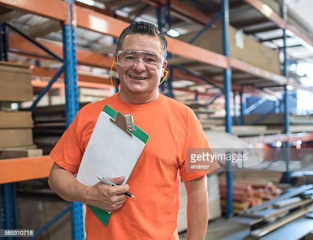 Man working at a lumberyard