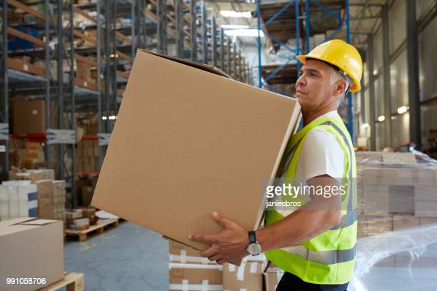 homem que trabalha em um armazém. carregando caixas pesadas - carregando - fotografias e filmes do acervo