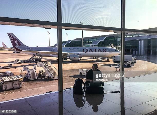 Man working at Barcelona El Prat airport, Spain
