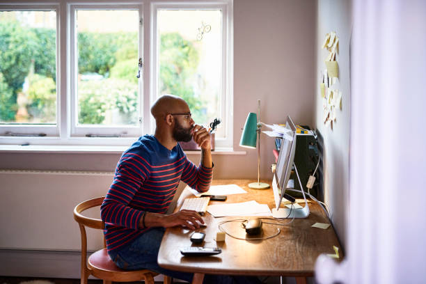 man working at home - organized person stock pictures, royalty-free photos & images