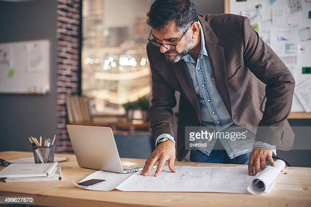 Man working at modern office space.