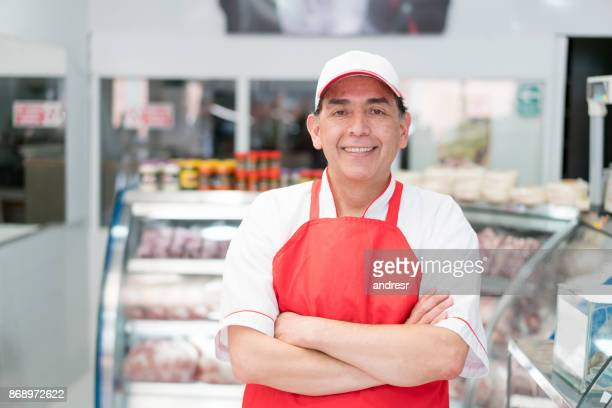 Man working at the butchery