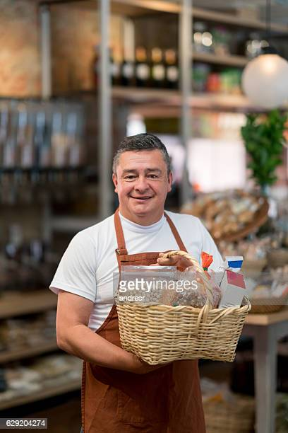 Man working at the supermarket