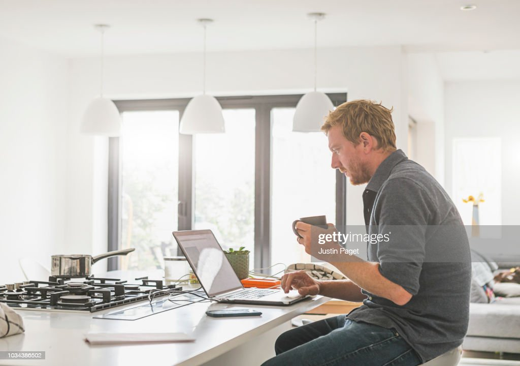 Man working from home : Stock Photo