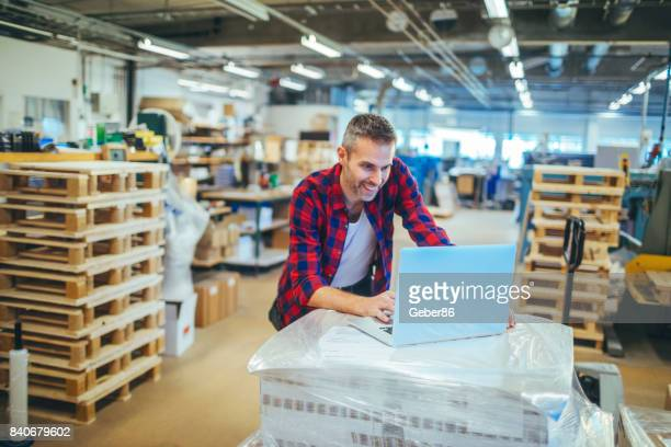 Man working in a printing factory