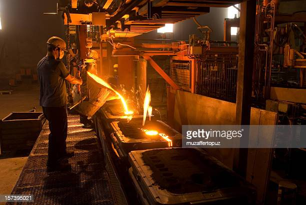 A man working in a steel foundry