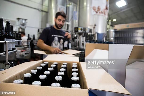 Man working in beer bottling plant