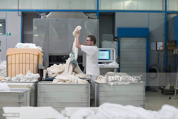 man working in launderette sorting laundry - sigrid gombert stock pictures, royalty-free photos & images