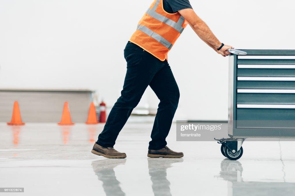 Man Working in Machining Shop : Stock Photo
