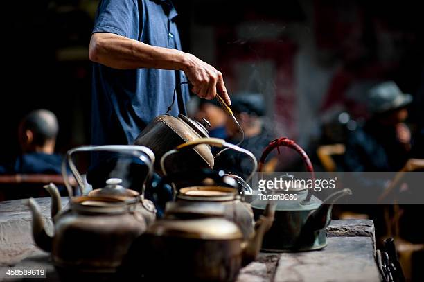 Man working in old tea house, Chengdu, China