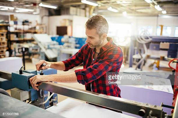 Man working in printing factory