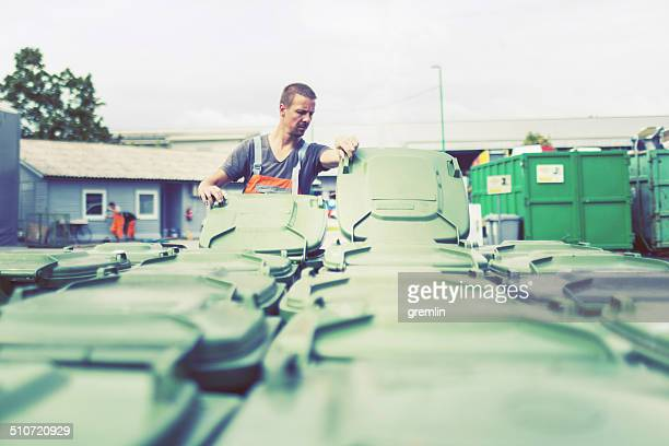 Man working in recycling center