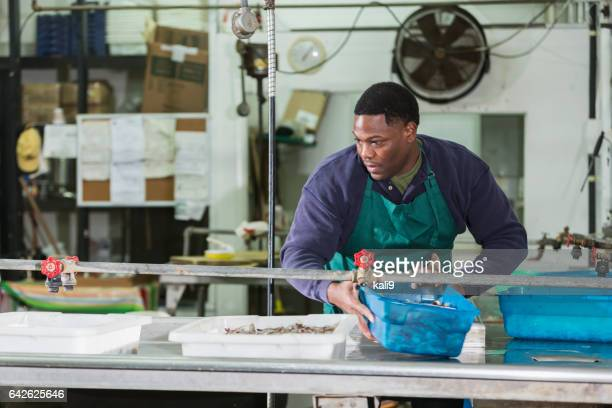 Man working in seafood processing plant