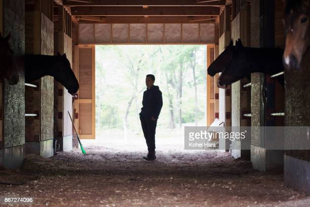 Man working in the horse stables