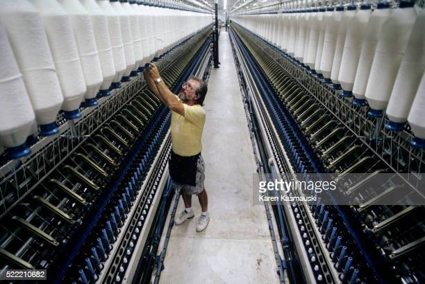 Man Working in the Sara Lee Textile Plant in Tennessee