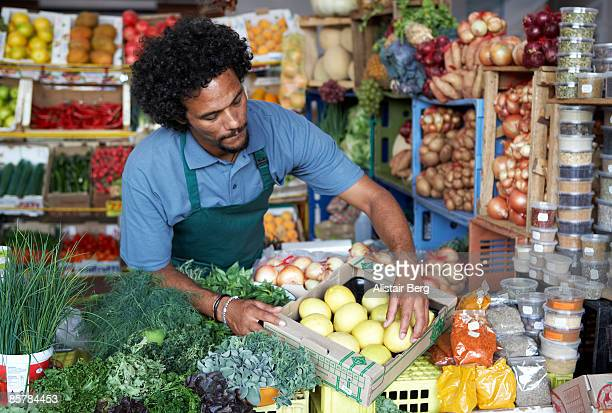 Man working in vegetable market