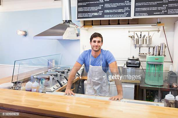 Man working in waffle shop