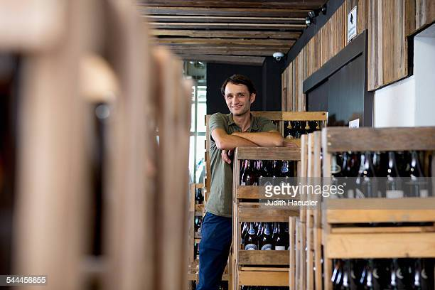 Man working in wine warehouse