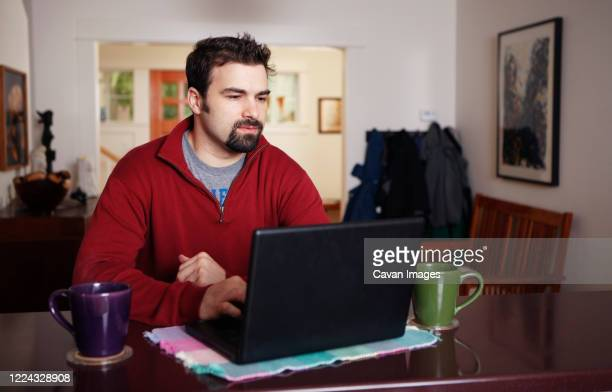 man working on laptop computer from home - goatee stock pictures, royalty-free photos & images