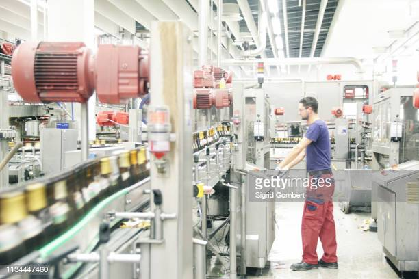 man working on production line in brewery - sigrid gombert - fotografias e filmes do acervo