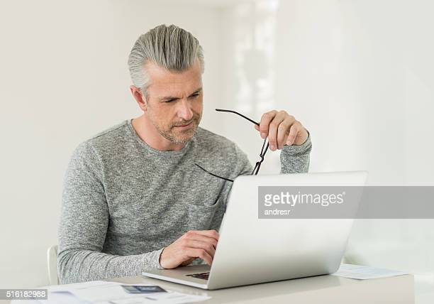 Man working online at home