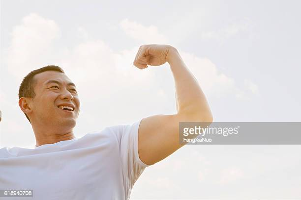 Man working out in park