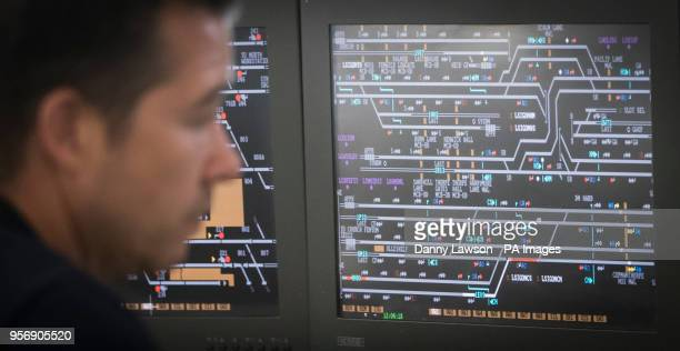 A man works at the Integrated Electronic Control Centre at the Rail Operating Centre in York as Transport Secretary Chris Grayling announces plans...