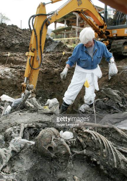 A man works in a mass grave containing the bodies of men massacred in Srebrenica in July 1995 that has been opened and the bodies are being exhumed...