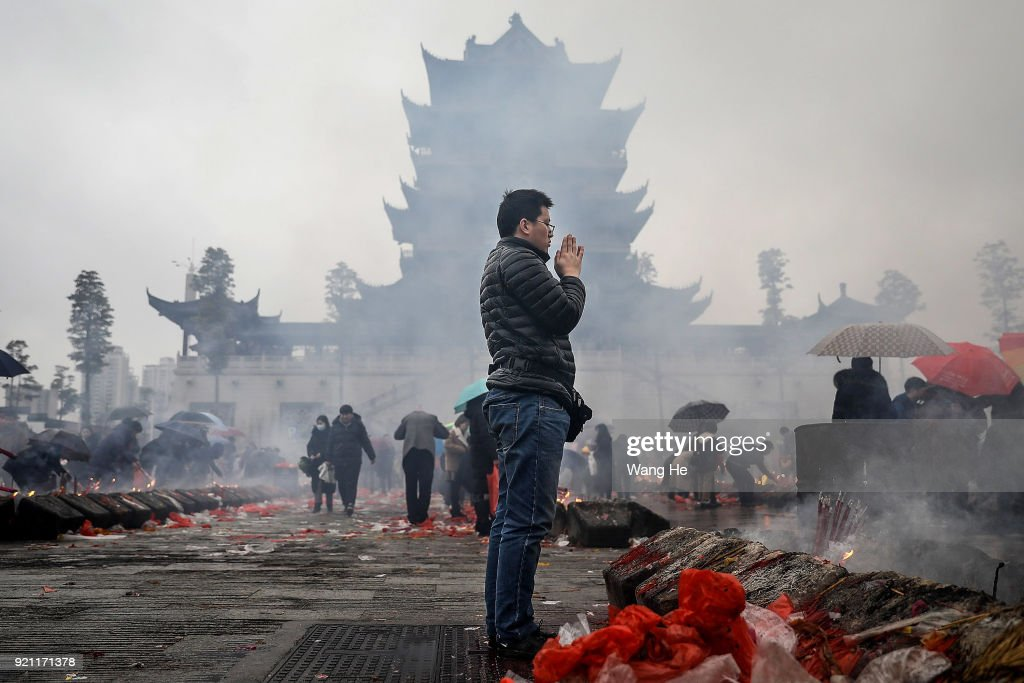 Chinese Worship The God Of Fortune In Guiyuan Buddhist Temple