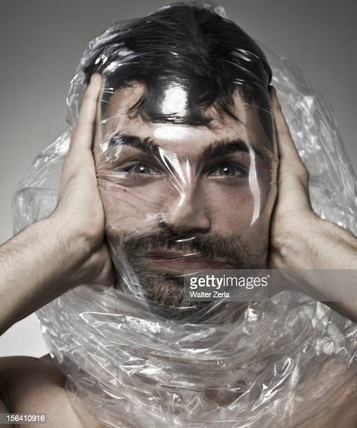 Man wrapped in plastic