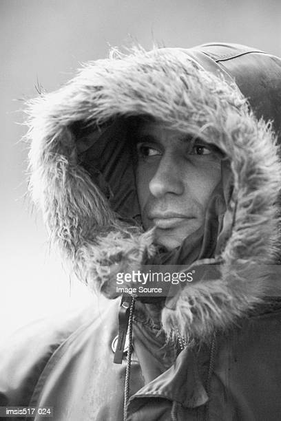 Man wrapped up in parka
