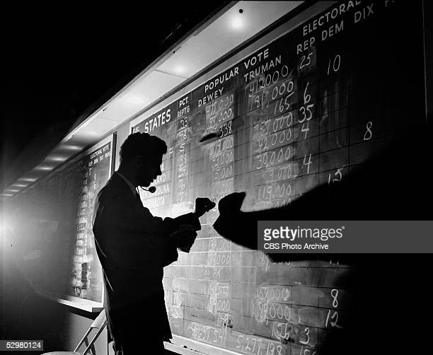 A man writes in results of the presidential election on a chalkboard November 2 1948 Despite a threeway split in the Democratic base President Harry...