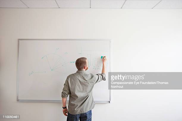 Man writing on white board with green marker