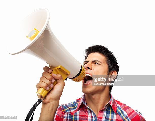 Man Yelling Through Megaphone - Isolated