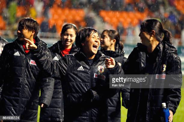 Mana Iwabuchi and Emi Nakajima of Japan celebrate their 20 victory in the international friendly match between Japan and Switzerland at Nagano U...