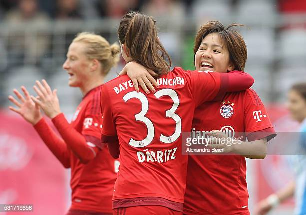 Mana Iwabuchi of Bayern Muenchen celebrates her first goal together with teammate Sara Daebritz during the women Bundesliga match between FC Bayern...
