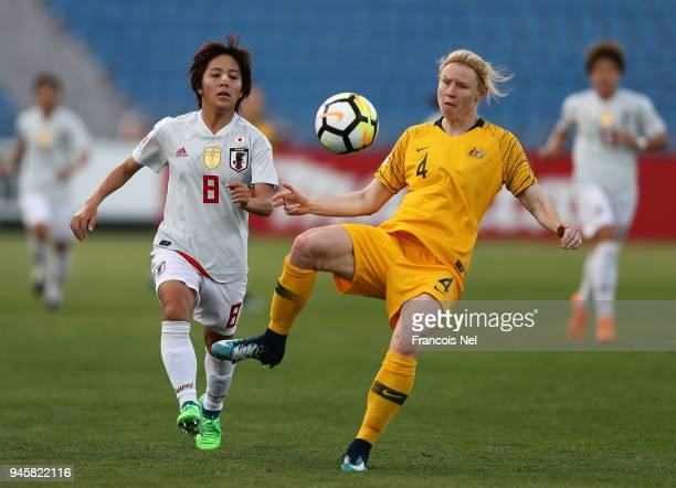 Mana Iwabuchi of Japan and Clare Polkinghorne of Australia in action during the AFC Women's Asian Cup Group B match between Japan and Australia at...